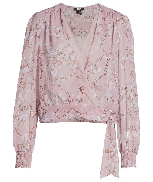 Paige Jeans margherita floral wrap blouse in pink mist multi