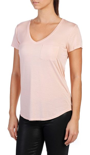 PAIGE lynnea v-neck pocket tee in cameo rose - A stretch-knit V-neck tee is styled with a cute chest...