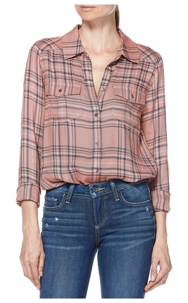 PAIGE mya plaid shirt in pink - Both casual and polished, this supremely soft and...