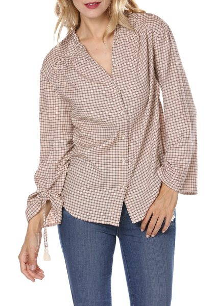 PAIGE torin check blouse in sandy shell/ spice - Crisp checks add a bit of down-home appeal to a...