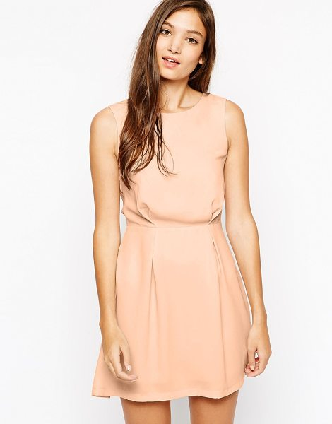 Paisie Skater dress lace detail in peach
