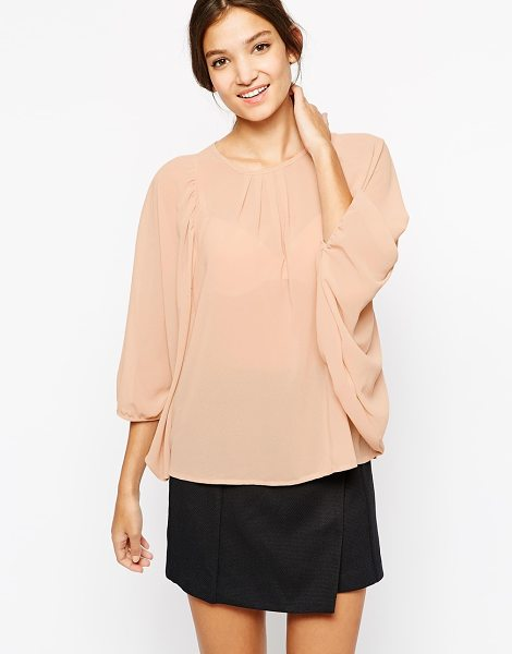 Paisie Top with gathered sleeve in soft pink - Top by Paisie Lightweight, semi-sheer chiffon Round...