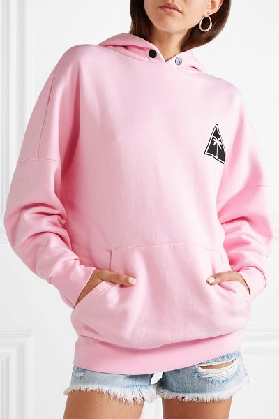 Palm Angels printed cotton-jersey hoodie in baby pink