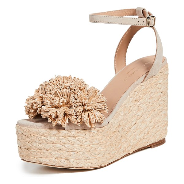 Paloma Barcelo armele flower raffia wedge espadrilles in nude - Leather: Cowhide Raffia floral accent Braided jute...