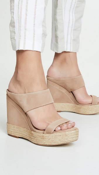 Paloma Barcelo plantanillo wedge mules in taupe
