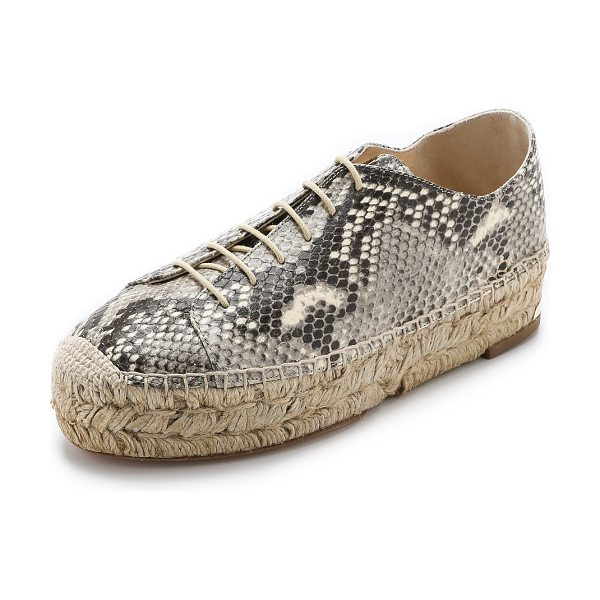 PALOMA BARCELO Platform espadrille sneakers in natural - Embossed, snake print leather brings a bold look to...