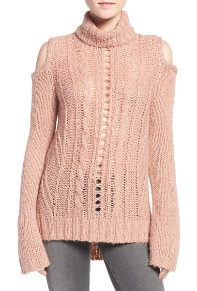 PAM & GELA cold shoulder cable knit sweater - Loosely knit and incredibly textured, this daringly...