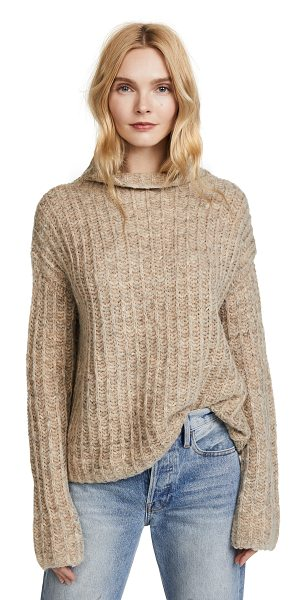 Pam & Gela funnel neck sweater in oatmeal - Fabric: Knit Pullover style Waist-length style Mock neck...