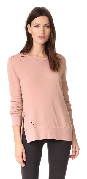Pam & Gela side slit sweatshirt in roseland - A faded wash and shredded holes add a well-worn look to...