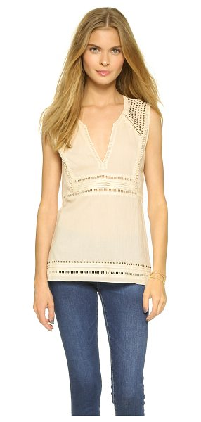 PAM & GELA Sleeveless voile top - Antiqued studs and peek a boo embroidery detail this...