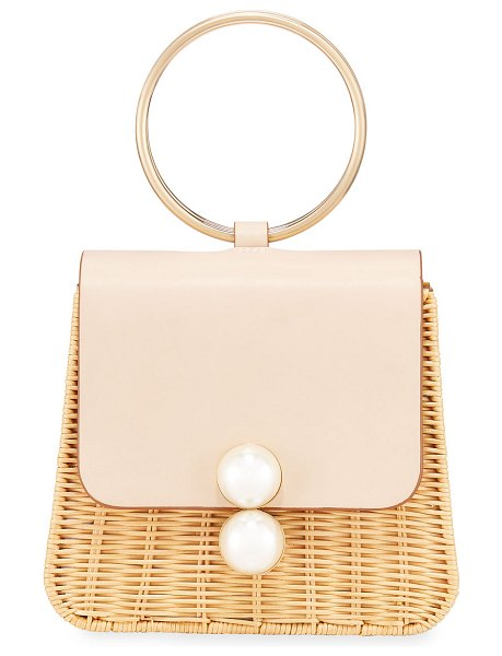 PAMELA MUNSON The Edie Ring Woven Top Handle Bag in neutral