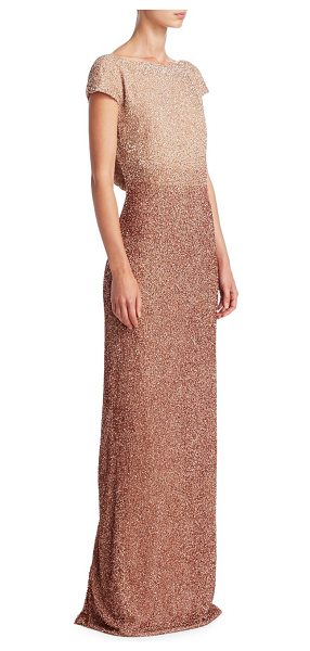 Pamella Roland beaded silk gown in rose gold - Glistening beaded cowl back gown in luxe silk. Boatneck....