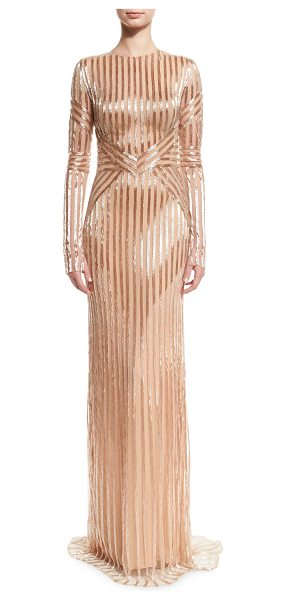 Pamella Roland Beaded-Stripe Long-Sleeve Gown in rose gold - Pamella Roland chiffon gown with beaded stripes. Jewel...