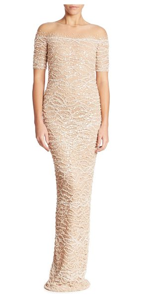 Pamella Roland embellished lace gown in champagne - Glistening sequins enhance this beautiful lace gown....