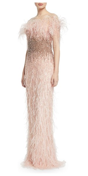 Pamella Roland Feather & Sequined Illusion Gown in blush - Pamella Roland gown with allover sequin detail and...