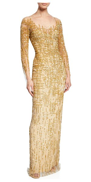 Pamella Roland Long-Sleeve Embroidered Illusion Gown in gold