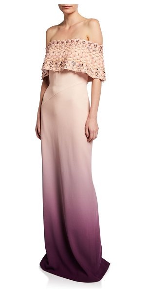 Pamella Roland Off-the-Shoulder Pearl-Embellished Ombre Gown in pink