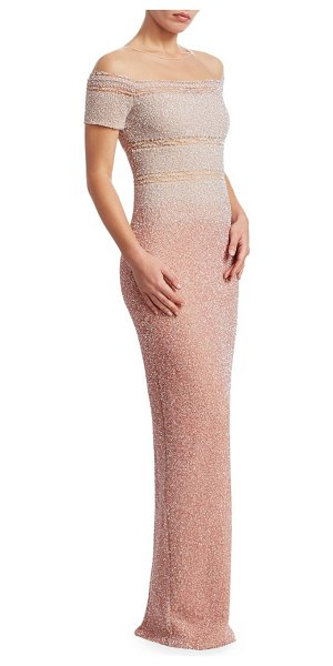 Pamella Roland sequin off-the-shoulder gown in white blush