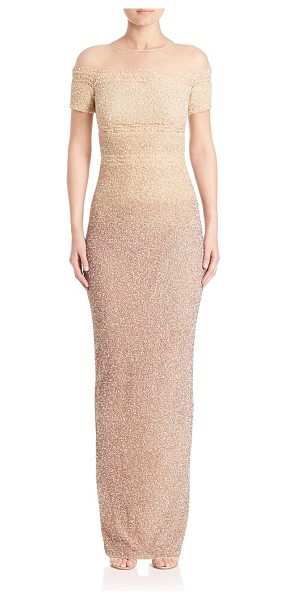 Pamella Roland signature sequin off-the-shoulder gown in champagne - Sheer mesh and striking sequins define floor-sweeping...
