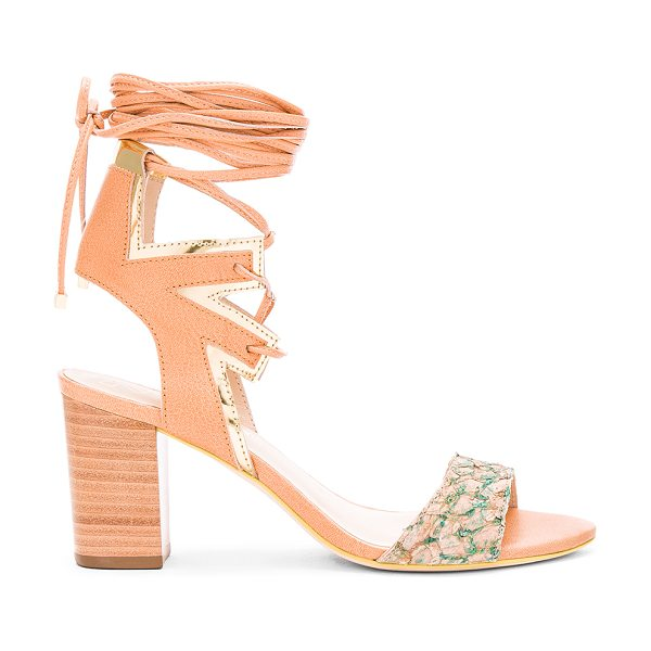PAOLA FABRIS Cordon Sandal in beige - Leather upper and sole. Snake embossed leather detail....