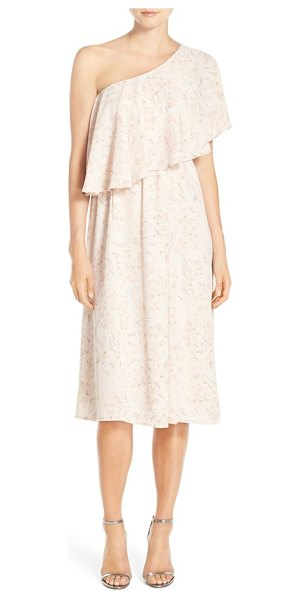 Paper Crown by lauren conrad 'ariana' one-shoulder tea length dress in blush floral print - Exuding timeless romance, a flowy chiffon dress features...