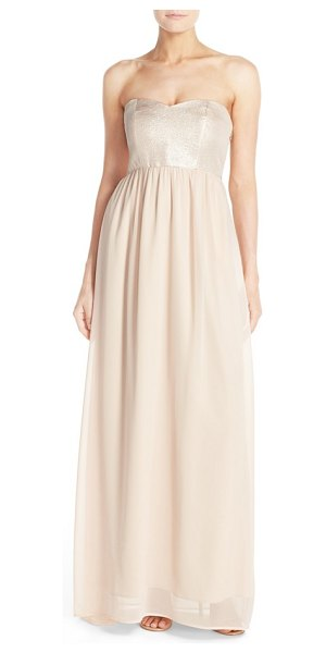 Paper Crown by lauren conrad breanna lace bodice crepe gown in rose gold/blush chiffon - A lovely Empire-waist gown begins with a sweetheart...