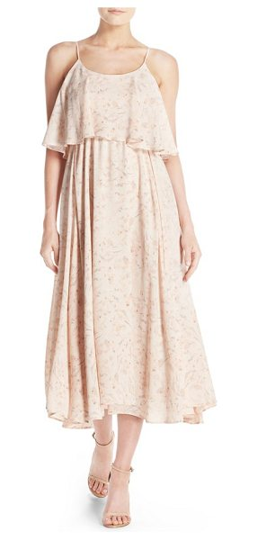 Paper Crown by lauren conrad 'britton' ruffled tea length crepe dress in blush floral print - A two-tiered design with a ruffled bodice overlay brings...