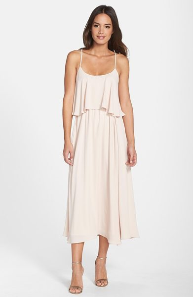Paper Crown by lauren conrad 'britton' ruffled tea length crepe dress in silver peony - A two-tiered design with a ruffled bodice overlay brings...