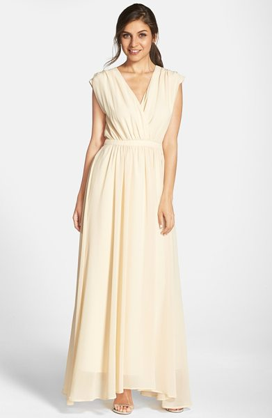 Paper Crown by lauren conrad jillian sleeveless surplice chiffon gown in cream - Lavishly gathered at the inset waist, an ethereal...