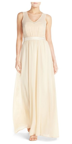 Paper Crown by lauren conrad madeline shimmer bodice gown in vintage gold/cream chiffon - Just a subtle touch of a shine puts this elegant and...