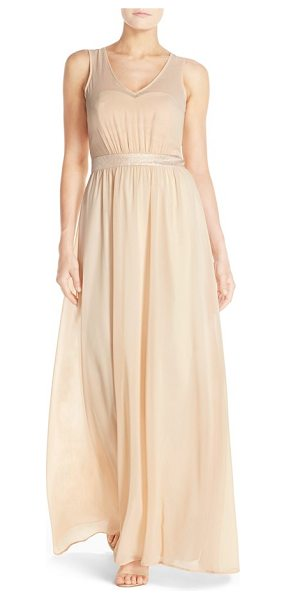 Paper Crown by lauren conrad 'madeline' shimmer bodice gown in vintage gold/cream chiffon - Just a subtle touch of a shine puts this elegant and...