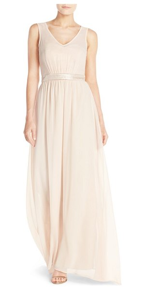 Paper Crown by lauren conrad 'madeline' shimmer bodice gown in rose gold/blush chiffon - Just a subtle touch of a shine puts this elegant and...