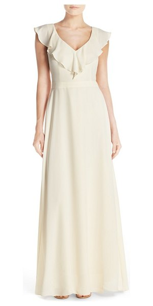 Paper Crown by lauren conrad print crepe ruffle v-neck gown in cream - Utterly feminine and completely flattering, a sleeveless...