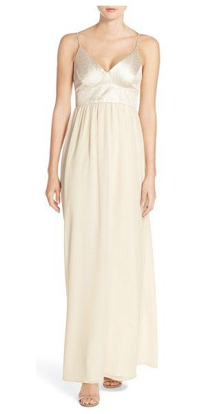 PAPER CROWN by lauren conrad shimmer bodice chiffon v-neck gown - A shimmering triangle-cup bodice over a soft chiffon...