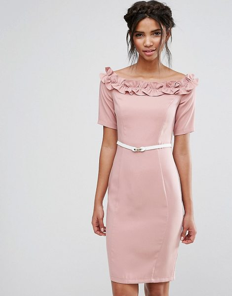 Paper Dolls bardot midi dress with belt and ruffle detail in rose - Midi dress by Paper Dolls, Smooth stretch fabric, Lined...