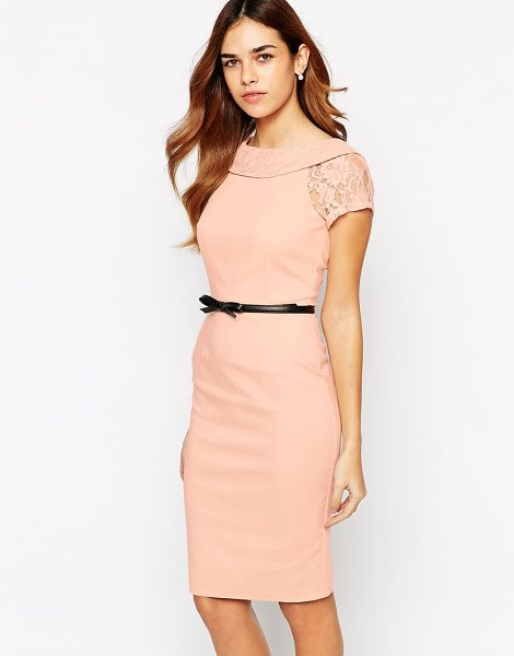 PAPER DOLLS Belted pencil dress with bardot neck and lace sleeve - Evening dress by Paper Dolls Crisp, woven fabric...