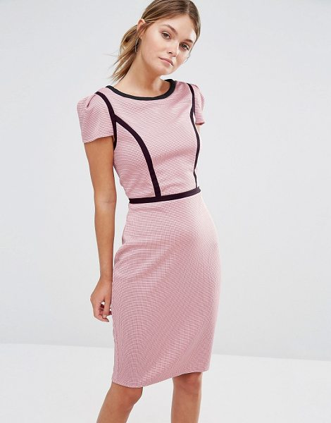 Paper Dolls Gingham Pencil Dress With Contrast Piping in pink - Dress by Paper Dolls, Textured woven fabric, Round...