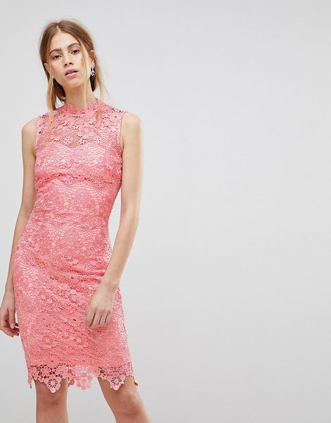 Paper Dolls high neck crochet dress in pink - Evening dress by Paper Dolls, For that thing you have to...