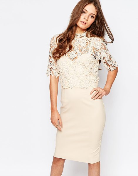 Paper Dolls High Neck Lace Dress with Pencil Skirt in cream - Pencil dress by Paper Dolls, Lightweight woven fabric,...
