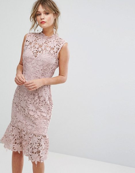 "Paper Dolls high neck lace dress with pephem in lightblush - """"Lace dress by Paper Dolls, Semi-sheer lace, High neck,..."