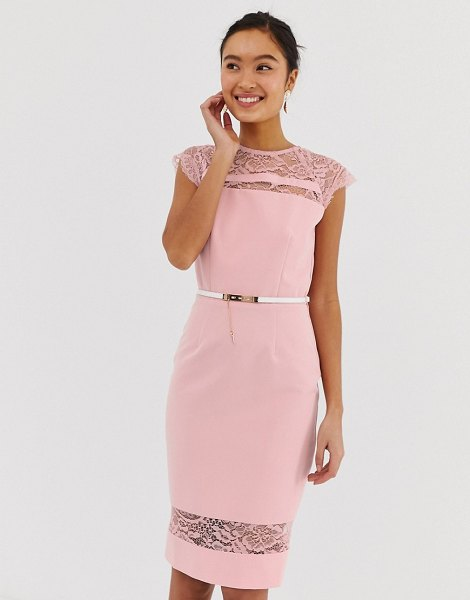 Paper Dolls lace detail midi dress with belt in white-pink in pink