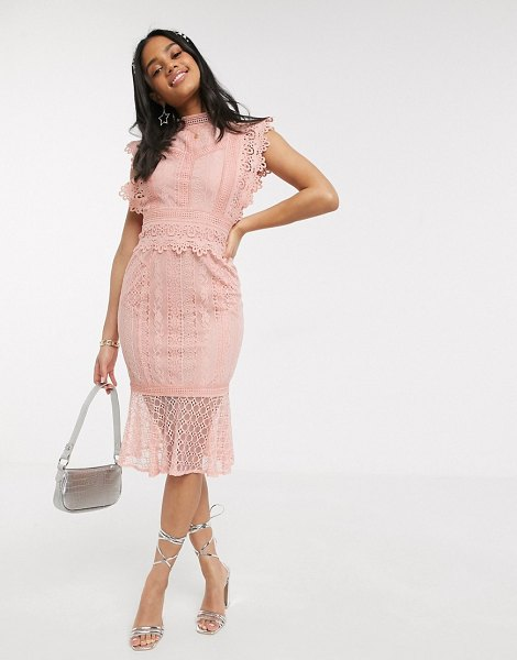 Paper Dolls lace fishtail midi dress in pink in pink