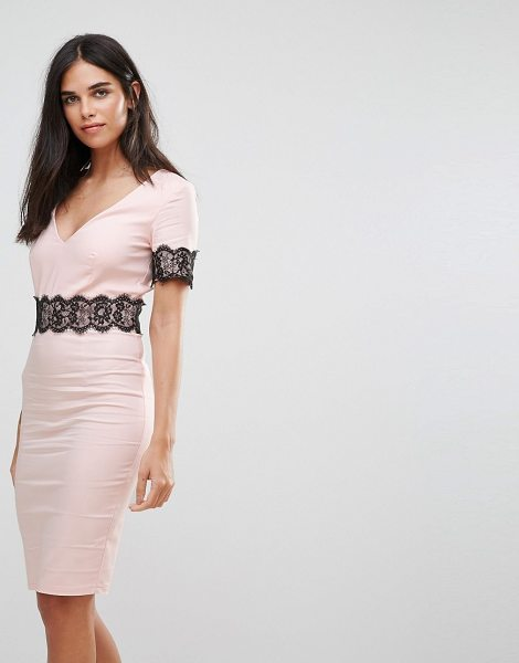 "Paper Dolls lace trim pencil midi dress in blush - """"Midi dress by Paper Dolls, Stretch woven fabric,..."