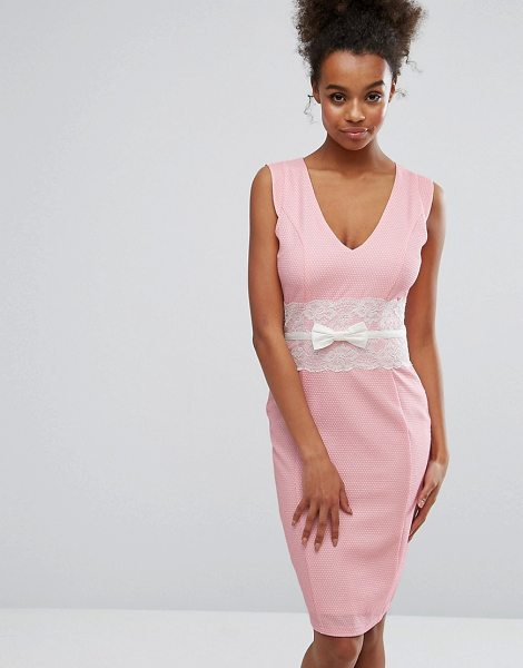 "PAPER DOLLS Pink Bodycon Dress With Lace Middle - """"Dress by Paper Dolls, Textured woven fabric, Plunge..."