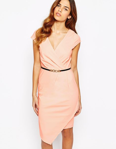 Paper Dolls Wrap front pencil dress with belt in nude - Pencil dress by Paper Dolls Mid-weight lightly textured...