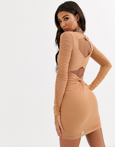 Parallel Lines bodycon dress with ruched detail-brown in brown