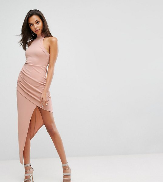 "Parallel Lines High Neck Bodycon Dress With Wrap Front in beige - """"Dress by Parallel Lines, Stretch fabric, High..."