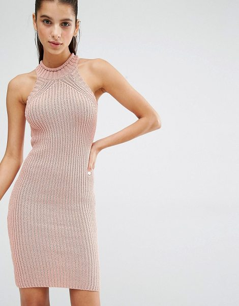 Parallel Lines High Neck Knitted Mini Dress in pink - Knit dress by Parallel Lines, Chunky knit, High...