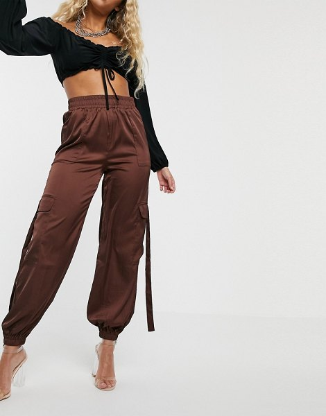 Parallel Lines high waisted cargo pants with utility detail-brown in brown