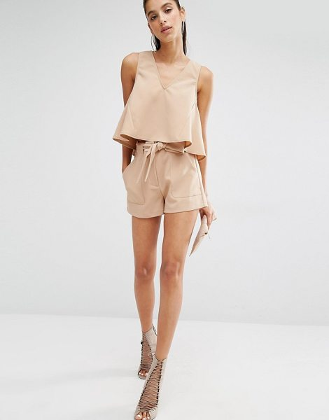 Parallel Lines High waisted shorts with belt tie co-ord in sand - Shorts by Parallel Lines, Lightweight woven fabric,...
